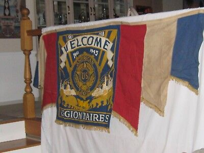 1917-1918  1941-1945 Original American Legion Banner from WW1 reused for WW2