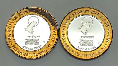 2 Limited Edition Collector's Series Traverse Bay Casino Tokens .999 Silver