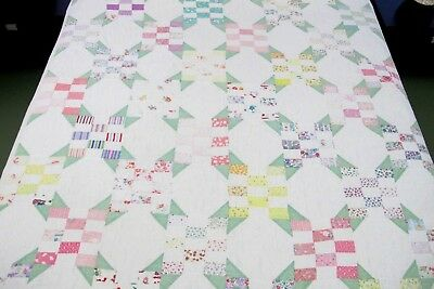 WELL USED Cut Down In Size Vintage Feed Sack Hand Pieced QUILT
