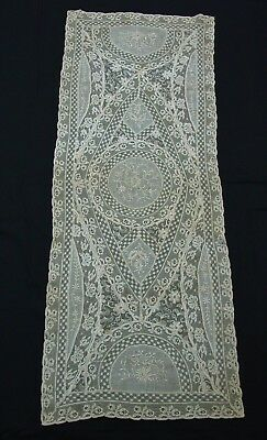 """Antique Normandy Lace Runner 16 x 42"""" Exquisite"""