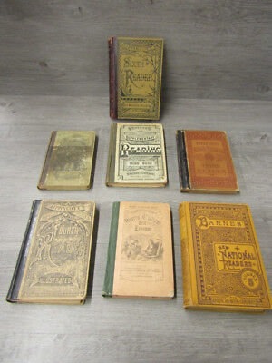 Lot of 7 Antique Late 1800's Primary School Books