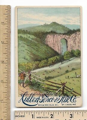 HULBERT FENCE & WIRE NATURAL BRIDGE Advertising Victorian Trade Card