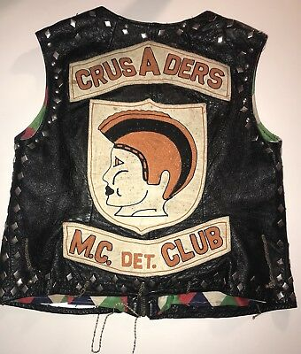 VTG Crusaders MC motorcycle club biker vest patches Chains Leather Cut