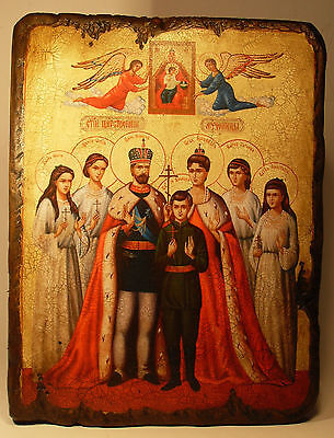 Handmade copy ancient ORTHODOX CHURCH ICON Holy Royal Martyrs of Russia 75M