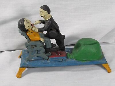 Antique Replication Die-Cast Iron Mechanical Coin Bank Dentist Made In Taiwan