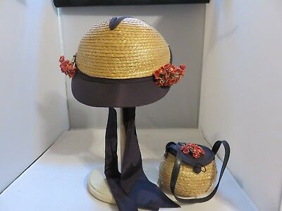 Vintage Child's Straw & Navy Sunday Hat with Flowers Bow Chin Tie
