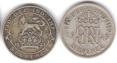 Great Britain England British Silver Coin Six Pence 1921,1945