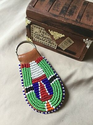 Vintage Native American Indian Bead Work Hand Made Beaded Leather Keychain