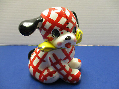 "Vintage Napco ""Billy"" Plaid Dog Ceramic Two Piece Bank 1960's"