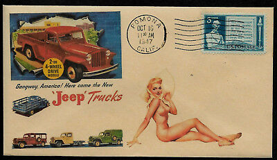 1947 Jeep Trucks & Pin Up Girl ad Featured on Collector's Envelope *OP500