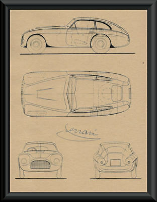 Enzo Ferrari Autograph Reprint Diagram of 166 On 70 Year Old Paper P070
