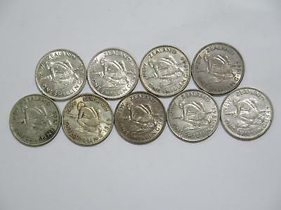 New Zealand One Shilling Mixed Date Silver Type Old World Coin Collection Lot #d