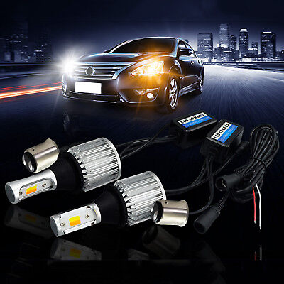 2x BA15d 1157 Amber/White Switchback LED Bulbs Extremely Bright 30W COB + Canbus