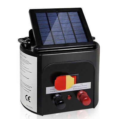 NEW Compact 3km Solar Power Pets Livestock Electric Fence Energiser Charger