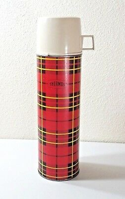 Vintage 1964 King Seeley Thermos Red Plaid Quart Size No.2442