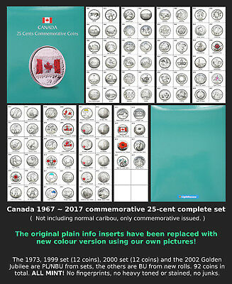 1967~2017 - Canada Commemorative 25-cents Complete Set - BU & PL - All Mint!