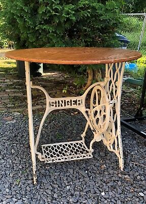 Singer Sewing Machine Cast Iron Base And Treadle Table