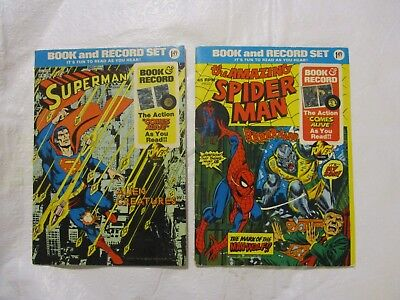 Lot Two Superheroes Book and Record Sets Superman and Spiderman 1974