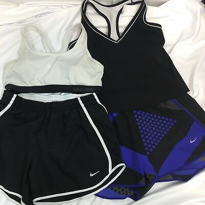 Lot of Nike Womens Dri-fit Tempo Running Shorts Athletic Tops Medium FLAWS