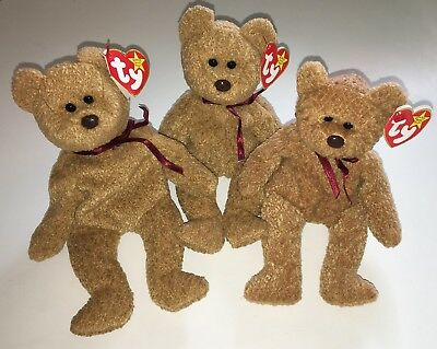 Ty Beanie Babies Lot of 3 Curly Teddy Bears New Baby Toy Plush Stuffed Brown NWT
