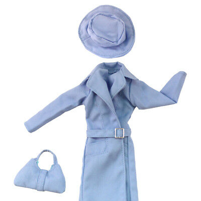 Elegant doll blue overcoat hat bag set for  1/6 dolls party daily clothes