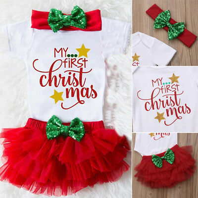 My First Christmas Newborn Baby Girls Romper Bodysuit 3pcs Christmas Xmas  Outfit - MY FIRST CHRISTMAS Newborn Baby Girls Romper Bodysuit 3pcs Christmas