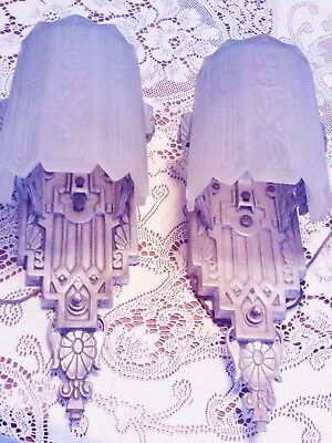matched pair of art deco cast aluminum frosted slip glass wall sconces
