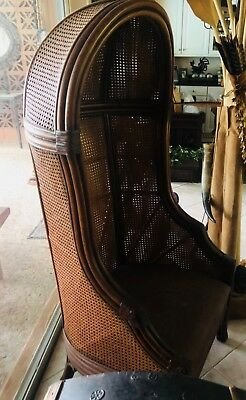 Vintage French Hooded Double Cane Back Wicker Canopy Chair