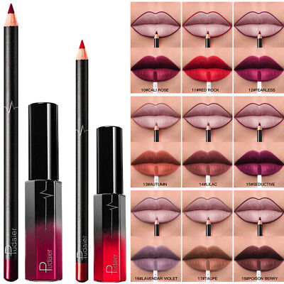 2pcs Long Lasting Lipstick Waterproof Matte Liquid Gloss Lip Liner Cosmetics Set