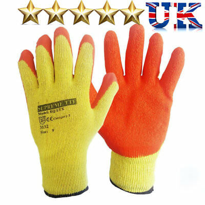 24 Pairs Latex Rubber Safety Work Grip Gloves | PPE ORANGE Builder Warehouse DIY