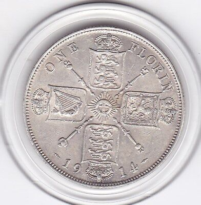 Very  Sharp  1914   King   George  V  Florin  (2/-)  Silver  (92.5%)  Coin