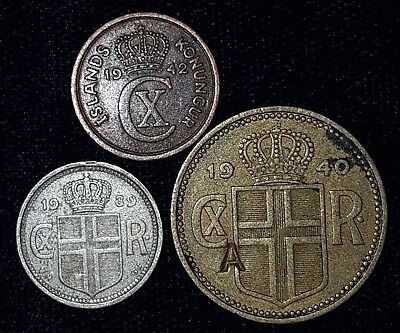3 Coins from Iceland.  1939-1942.  No Reserve!