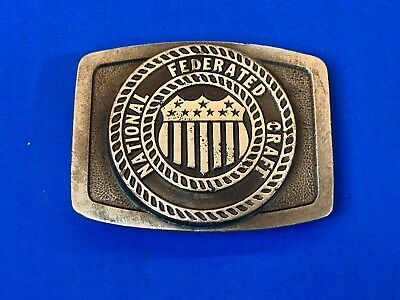 Vintage National Federated Craft Flag Emblem Logo belt buckle
