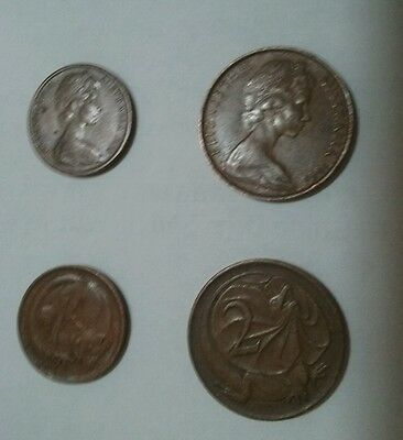 1966 Australian 1 Cent  And 2 Cent Coins. Circulated. Pair of coins