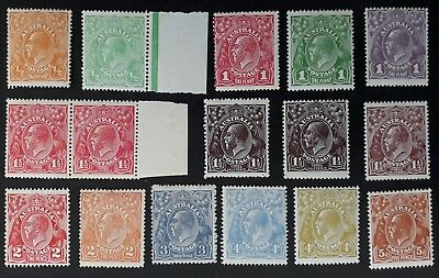 Rare 1915- Australia Lot of 16 X KGV Stamps various Values Mint/MUH Unchecked