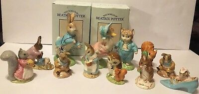Lot of 12 Vintage Beatrix Potter Beswick and Royal Doulton Ceramic Figurines