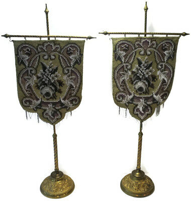 WONDERFUL! Victorian Beadwork and Needlepoint Face Screens with Brass Stands