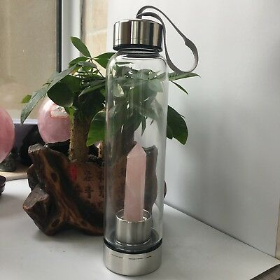 Natural rose Crystal Double Wall Glass Infused Gemstone Water Bottle