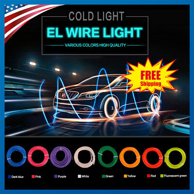 1/3/5M Led Flexible EL Wire Neon Glow Light String Strip Rope + Controller Party