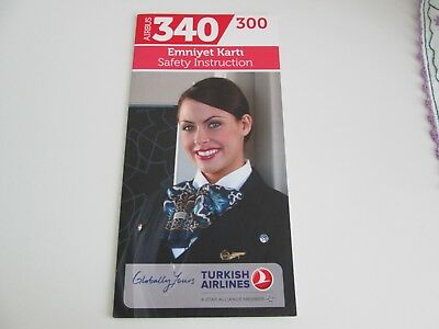 Safety card Turkish Airlines Airbus A340-300