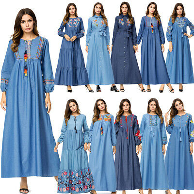 Dubai Kaftan Embroidery Floral Maxi Dress Muslim Women Abaya Cocktail Long Robes