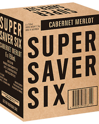 Super Saver Six Cabernet Merlot Red Wine 750mL bottle (in store)