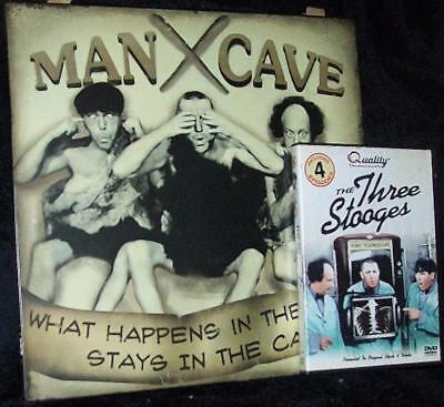 Three Stooges Man Cave Metal Tin Sign What Happens In Cave Stays In Cave