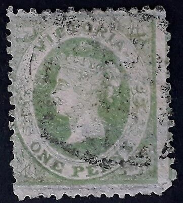 1860- Victoria Australia 1d Pale Yellowish Green Emblem Stamp Perf 12 Used