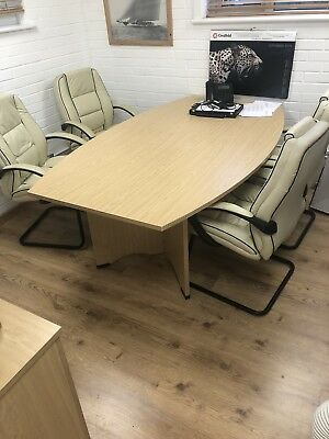 Conference/meeting Room Table and 4 Leather Chairs