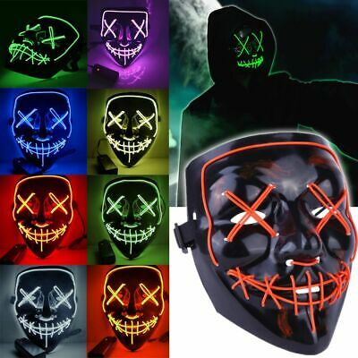 3 Modes Scary Mask Cosplay LED Costume Mask EL Wire Light Up The Purge Movie AU