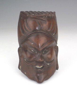 Antique Japanese Carved Wood - Oriental Deity Wall Mask - Glass Eyes!