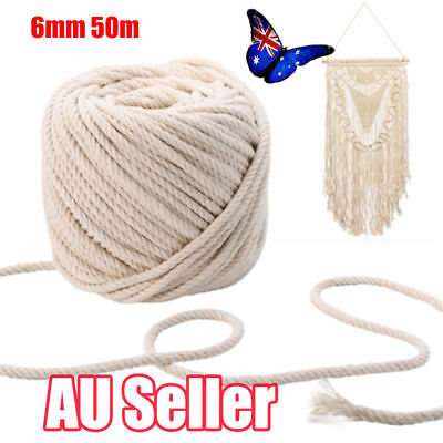 6mm 50m Macrame Rope Natural Beige Cotton Twisted Cord Artisan Hand Craft New JO