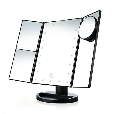USB Vanity Makeup Countertop Cosmetic Mirror 21 Led Lighted Three-sided Foldable