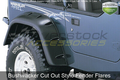 BUSHWACKER 10036-07 REAR Matte Black Cut-Out Fender Flares